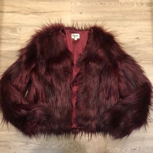 Show Me Your Mumu Ruby Red Faux Fur Jacket Size S